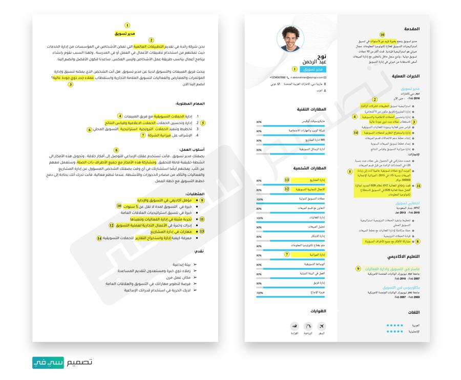 أفصل سي في (CV) باللغة العربية و الإنجليزية